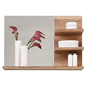 trendteam smart living Badezimmer Wandspiegel Cancun Boom, 72 x 57 x 20 cm in Nussbaum Satin  (Nb.) mit drei Ablageböden