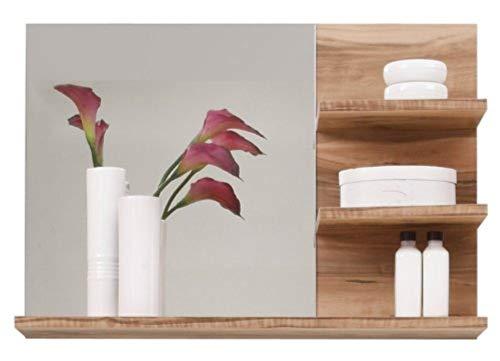 Trendteam 1259-401-60 Badezimmer Wandspiegel Cancun Boom, 72 x 57 x 20 cm in Nussbaum Satin Dekor mit drei Ablageböden
