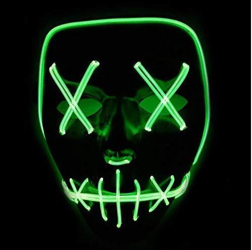 Amoy.b maschera chiara fredda di el nuova maschera leggera leggera della maschera della luce di halloween horror led senza batteria * 1 (verde fluorescente)