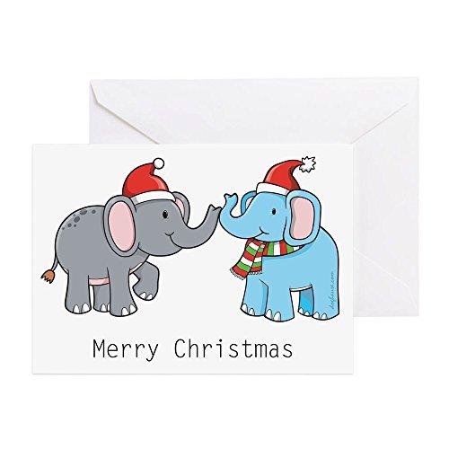 CafePress–Elefant Weihnachten–Grußkarte, Note Karte, Geburtstagskarte, innen blanko, glänzend