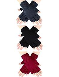 SATINIOR 3 Paar Halb Fingerhandschuhe Winter Fingerlose Handschuhe Strickhandschuhe für Männer Frauen