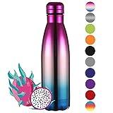 Ecooe Thermos 500ml bottiglia d'acqua in acciaio inox vuoto isolamento bottiglia per bottiglia d'acqua fredda e bevande calde (Multicolore)
