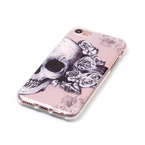 iPhone 7 Hülle,iPhone 7 Schutzhülle,iPhone 7 Silikon Hülle,ikasus® TPU Silikon Schutzhülle Case Hülle für iPhone 7,Durchsichtig mit Bunte Gemalt Muster Handyhülle iPhone 7 Silikon Hülle [Kristallklar  Rosen Schädel
