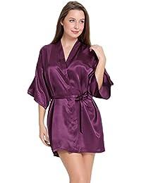 Aibrou Mujer Mañana Vestido Pijama,Corto Satén Albonoz Kimono Bata de Aspecto Brillante
