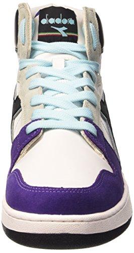 Diadora Basket 80 Act, Baskets Montantes Unisexes - Adulte Blanc / Noir / Vil Purple Opul