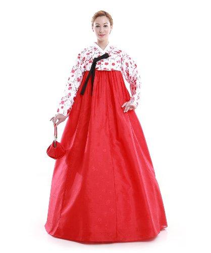Hanbok Robe Coreenne sur mesure Ceremonie Mariage ete Rouge Blanc