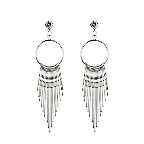 Damen Ohrringe Schmuck Ohrstecker Stecker DAY.LIN Neue Mode Frauen baumeln Quaste Ohrring Kristall Ohrringe Eardrop Hoops (Silber)