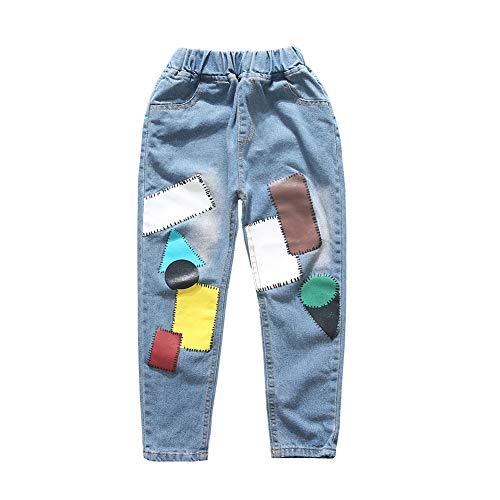 Fansi personalisierte Patch Jeans Jungen und Mädchen Jeans Kinderhose gedruckt Jeans Casual Jeans Size 130-140cm