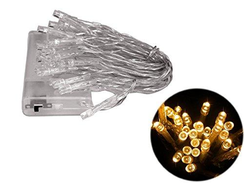E-Senior 20er LED-Mini-Lichterkette, batteriebetrieben mit Schalter, leuchtend in einem warmen Gelb/Goldton