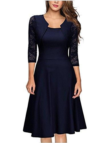 1f44fa69152c emmarcon elegante abito cerimonia da donna manica in pizzo a 3 4 vestito  corto s