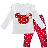 TiaoBug 2pcs Ensemble de Vêtement Bébé Fille Cartoon T-shirt Manches Longues Polka Dots & Leggings Pantalon à Pois 9 Mois-3 Ans Rouge 12-18 Mois