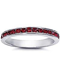 Little Treasures Rhodium Plated Sterling Silver Wedding & Engagement Ring Garnet CZ Channel Set Eternity Ring