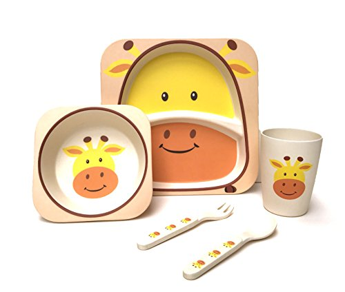 Children's 5 Piece Bamboo Dinner Set – 100% Bamboo Fibre, Eco-Friendly, Dishwasher Safe 417KzLi221L