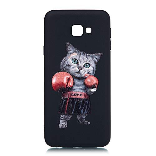 Everainy Kompatibel für Samsung Galaxy J4 Core 2018 Hülle Silikon Bumper Gummi Neu Cover Hüllen für Galaxy J4 Core 2018 Handyhülle Stoßfest TPU Stoßstange Schwarz Schutzhülle (Katze)
