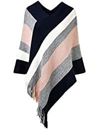 Ferand Gestreift Gestrickter Poncho Schal im Wickeldesign mit gefransten Seiten für Frauen