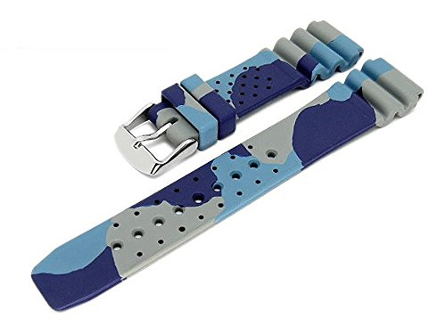 Meyhofer Uhrenarmband Malta 22mm camouflage blau-grau Kautschuk MyBnskb02/22mm/blau/oN