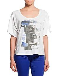 639e6cc462c736 Calvin Klein Jeans Maglia T-Shirt da Donna Mezze Maniche con Stampa, Bianco
