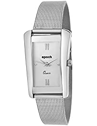 Epoch Analogue Square Silver Dial Metal Strap Watches For Women And Girls_A-Zrn024