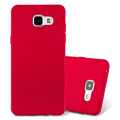 Cadorabo - Ultra Slim TPU Frosted Mate Coque Gel (silicone) pour Samsung Galaxy A3 (6) (Modèle 2016) - Housse Case Cover Bumper en FROST-ROUGE