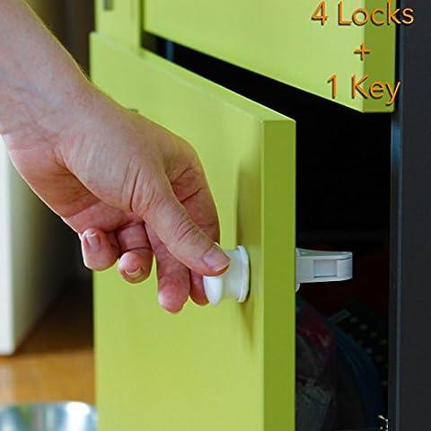 Takit BB1 - Seguros de cajones para niños pequeños, seguros invisibles magnéticos de vitrinas para niños pequeños – no se necesitan herramientas ni tornillos. 4 seguros + 1 llave –