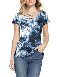 a0a784fe8bd0 AMORETU Womens Ladies Round Neck Casual T-Shirt Tops Blouse