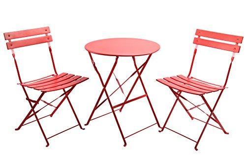 Finnhomy 3Stück Outdoor Patio-Möbel Sets Bistro Sets Stahl Klapptisch und Stuhl Set mit Safe Lock für drinnen und draußen Bistro Tisch Stuhl Sets Backyard/Bistro/Terrasse/Rasen rot -