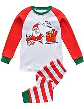 Tkiames Jungen Schlafanzug Weihnachten Baumwolle Kinder Langarm Pyjama 98 104 110 116 122 128 134