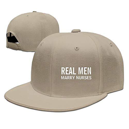 Preisvergleich Produktbild Real Men Marry Nurses Solid Flat Bill Hip Hop Snapback Baseball Cap Unisex Sunbonnet Hat.