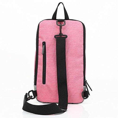 Fresion Coole Sling Rucksack Schultertasche Brusttasche Damen Herren Outdoor Sport Reisen Tasche 2 in 1 Crossbag Umhängetasche mit Verstellbarem Schultergurt (Dunkelgrau) Rosa