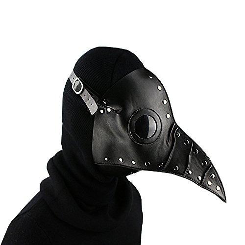 AimdonR Halloween Scary Maske,Pest-Doktor-Maske, Echt PU und Metall Zubehör Maske Schnabel