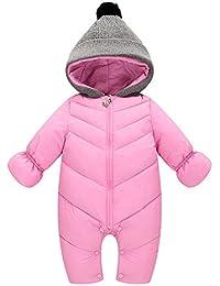 Bébé 0-24 mois Garçon Fille Épais Chaud Anti-Vent Manteau Doudoune Fermeture éclair à Capuche Bonnet