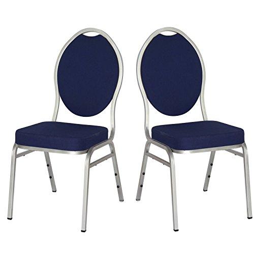 Dynamic24 2x Stapelstuhl Event Gastronomie Konferenz Polsterstuhl Stuhl Büro Stühle blau