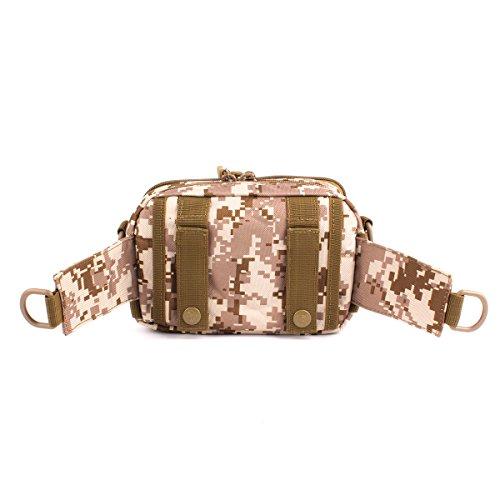 GES Tactical Molle Pouch Schulter Messenger Bag Militär-Gebrauchstaillen -Gürteltasche Fanny-Pack Wasserdichte lässig Für Outdoor-Camping-Trekking Wüste Digitale