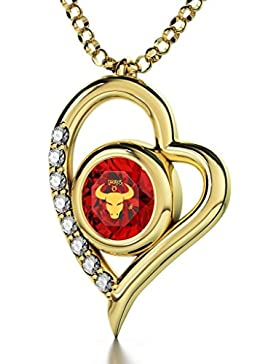 Vergoldete Horoskop Herzkette Sternzeichen Stier Graviert mit 24k Gold auf 8mm Swarovski Anhänger, 8 Zirkonia,...