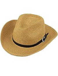 Unisex Sombrero De Vaquero Mujer Hombre Sombrero De Paja Brim Plegable Él  Sombrero Especial Estilo De 7ad7f438c4f0