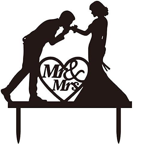 Ouneed® Gateau Deco Topper Carte MR&MRS (Noir)
