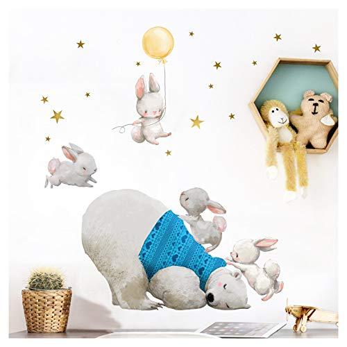 Little Deco Kinderzimmer Wandtattoo Jungen Eisbär und Hasen mit gelben Ballon I (BxH) 68 x 44 cm I Babyzimmer Aufkleber Sticker Jungs Wandaufkleber Wandsticker Kinder DL209-9