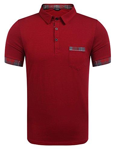 Coofandy Herren Poloshirt Einfarbig Kurzarm Plaid Men's Kragen Polo Shirt Freizeit Winerot