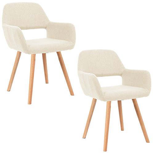 Holz Esszimmer-set (MCTECH® 2x Stuhl Esszimmerstühle Esszimmerstuhl Stuhlgruppe Konferenzstuhl Küchenstuhl Armlehne Büro mit Massivholz Eiche Bein (Type E, Beige))
