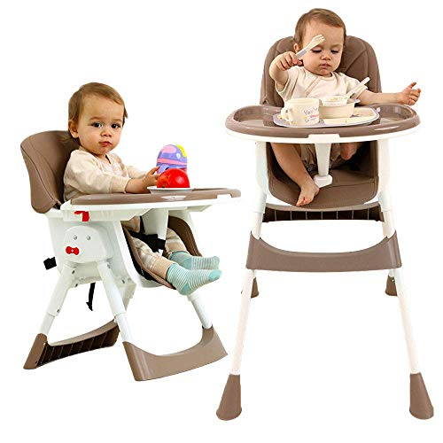 Silla alta para bebé Asiento elevador plegable y ajustable Silla para niños...