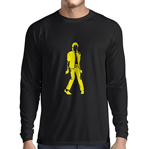 lepni.me Langarm Herren T Shirts Ich Liebe M J - King of Pop, 80er Jahre, 90er Jahre Musical Shirt, Partykleidung (XX-Large Schwarz Gelb)