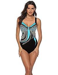 91dfb8d9179a Sweetneed Costume Intero da Donna Costume da Bagno Sexy Moda Senza Maniche  Halter Slim Doppio Girocollo Costume da Bagno Bikini Bicolore…