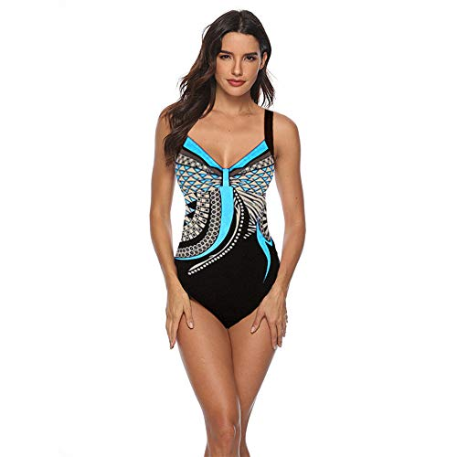 Sweetneed Bañadores de Mujer Traje de una Pieza con Relleno Bañador Push up Ropa de Baño Cintura Alta Size Gradiente de Color Cruz Atrás Slim Fit Cuerpo Atractivo Bañera Bikini (2XL(14-16), Blue+1)