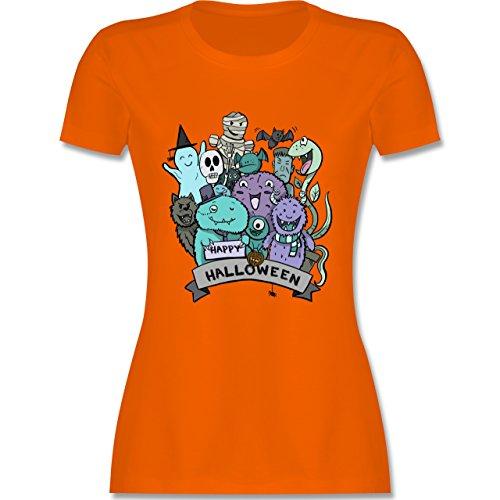 Halloween - Happy Halloween Monster - L - Orange - L191 - Damen T-Shirt (Kostüm Und Schwarz Das Orange Rot Neue Halloween Ist)