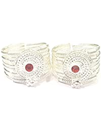 Antique Silver Toe Ring With (Adjustable Size) 1 Pair Silver Exclusive AMMAN For Women, Girls