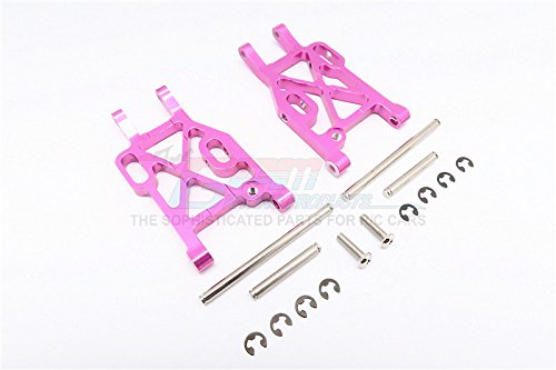 Kyosho Mini Inferno Tuning Teile Aluminium Rear Lower Arm With E-Clips & Pins & Delrin Collars - 1Pr Set Pink - Eclip-pin