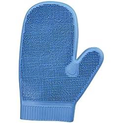 Doppelseitiger Striegel-Handschuh, blau