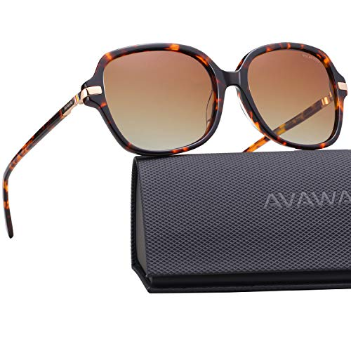 AVAWAY Runde Damen Sonnenbrille Polarisierte Brillen UV400 Schutz, Acetat Rahmen