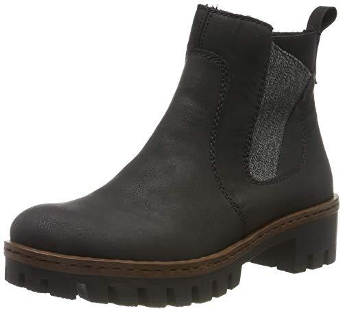 Rieker Damen Chelsea Boots 75754,Frauen Stiefel,Halbstiefel,Stiefelette,Bootie,Schlupfstiefel,hoch,Blockabsatz 4.6cm,schwarz/anthrazit, EU 38