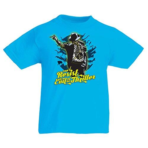 Kinder T-Shirt Vintage Band Kleidung, 80er Konzert Waren (7-8 Years Hellblau Mehrfarben)